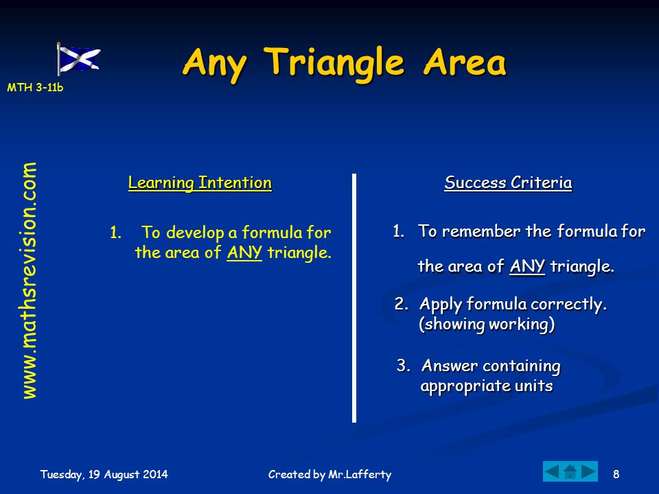 MTH 3-11b Tuesday, 19 August 2014 8Created by Mr.Lafferty Any Triangle Area Learning Intention Success Criteria 1.To remember the formula for the area