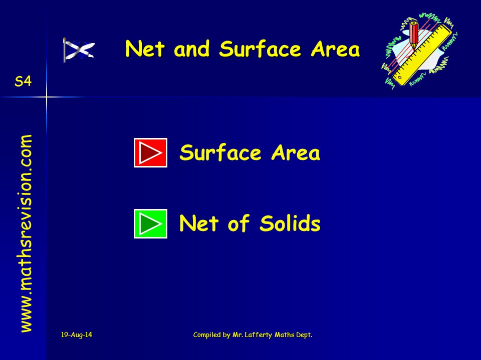 19-Aug-14Compiled by Mr. Lafferty Maths Dept. www.mathsrevision.com Net of Solids Net and Surface Area Surface Area S4