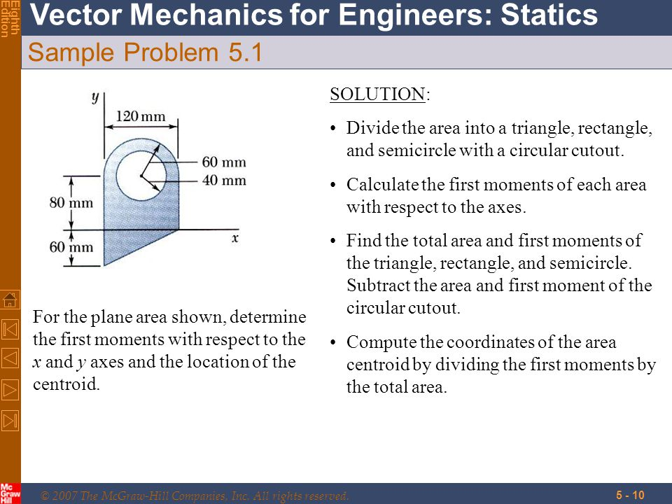© 2007 The McGraw-Hill Companies, Inc. All rights reserved. Vector Mechanics for Engineers: Statics EighthEdition 5 - 10 Sample Problem 5.1 For the pl
