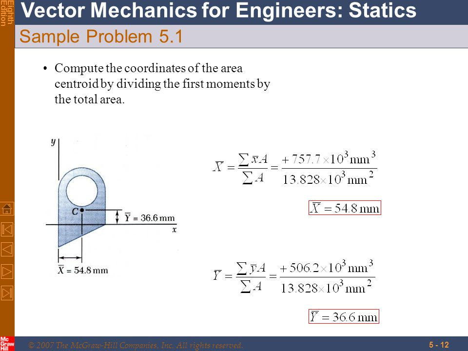 © 2007 The McGraw-Hill Companies, Inc. All rights reserved. Vector Mechanics for Engineers: Statics EighthEdition 5 - 12 Sample Problem 5.1 Compute th
