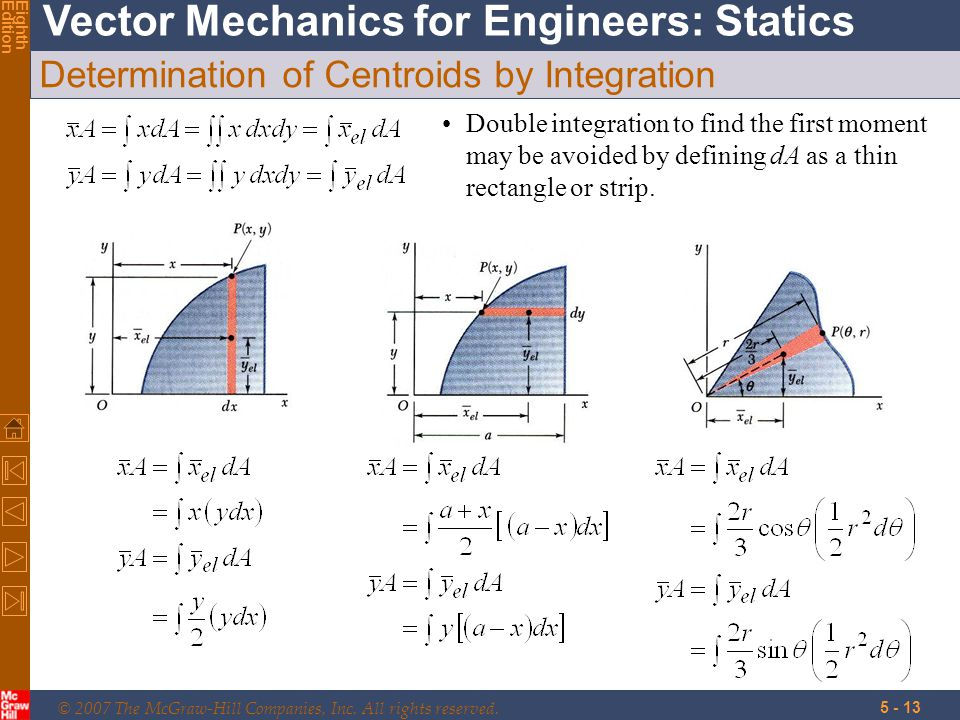 © 2007 The McGraw-Hill Companies, Inc. All rights reserved. Vector Mechanics for Engineers: Statics EighthEdition 5 - 13 Determination of Centroids by