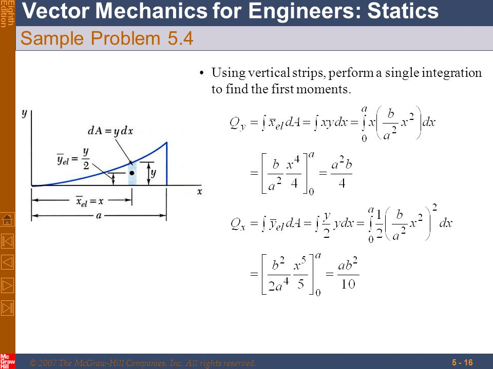 © 2007 The McGraw-Hill Companies, Inc. All rights reserved. Vector Mechanics for Engineers: Statics EighthEdition 5 - 16 Sample Problem 5.4 Using vert