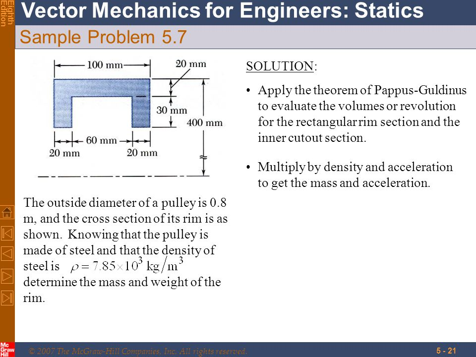 © 2007 The McGraw-Hill Companies, Inc. All rights reserved. Vector Mechanics for Engineers: Statics EighthEdition 5 - 21 Sample Problem 5.7 The outsid
