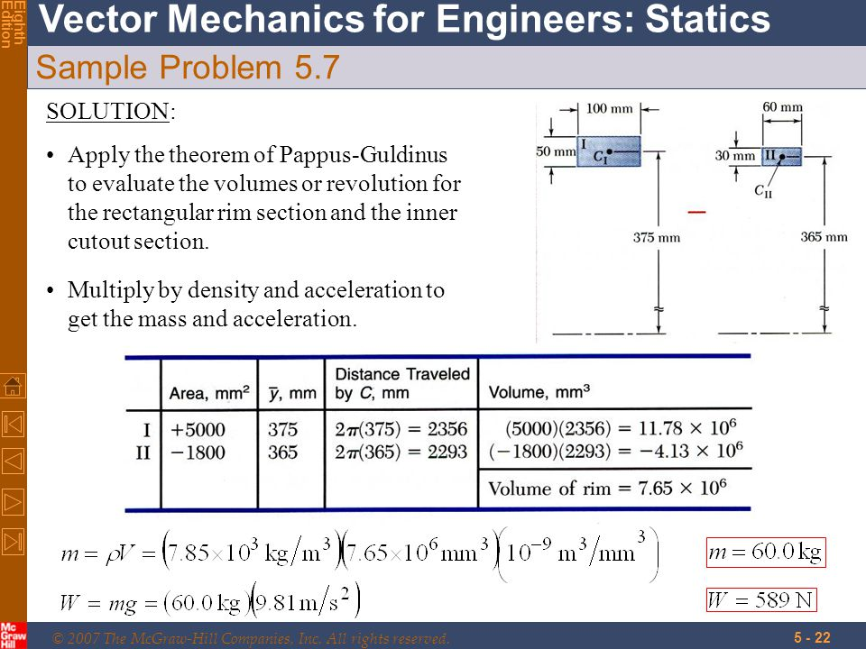 © 2007 The McGraw-Hill Companies, Inc. All rights reserved. Vector Mechanics for Engineers: Statics EighthEdition 5 - 22 Sample Problem 5.7 SOLUTION: