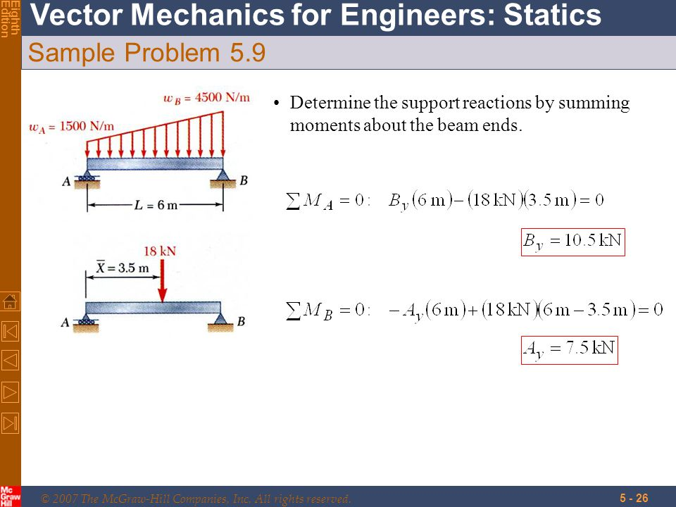 © 2007 The McGraw-Hill Companies, Inc. All rights reserved. Vector Mechanics for Engineers: Statics EighthEdition 5 - 26 Sample Problem 5.9 Determine