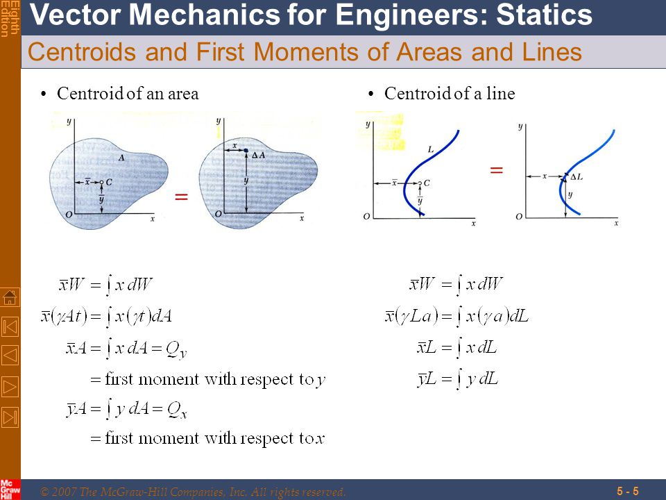 © 2007 The McGraw-Hill Companies, Inc. All rights reserved. Vector Mechanics for Engineers: Statics EighthEdition 5 - 5 Centroids and First Moments of