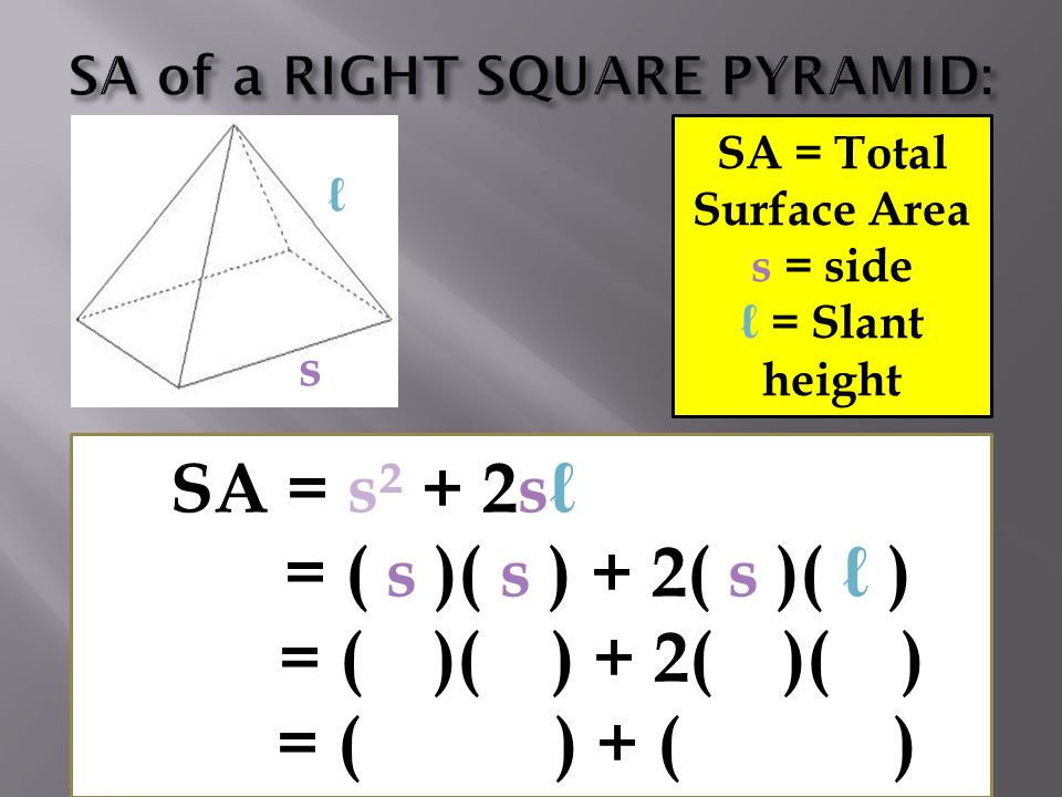 SA = Total Surface Area s = side ℓ = Slant height SA = s² + 2sℓ = ( s )( s ) + 2( s )( ℓ ) = ( )( ) + 2( )( ) = ( ) + ( ) ℓ s