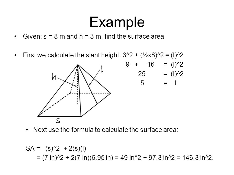 Surface Area of Cones Separates into 2 parts: Base and Side Area of Base = r^2 Area of Side = (radius of base)(slant height) = r^2 + rS