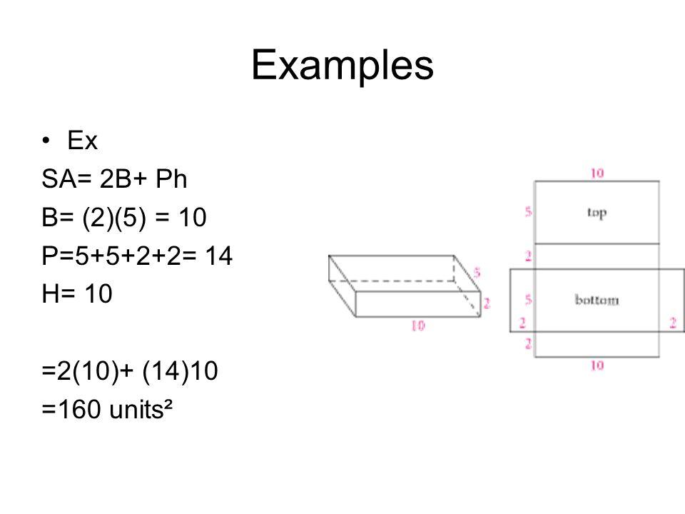 Examples SA= 2B+Ph B= ½ (4)(6)= 12 cm P= 4+6+7= 17 cm H= 12 cm SA= 2(12)+ 17(12) =24+ 204 =228 cm squared