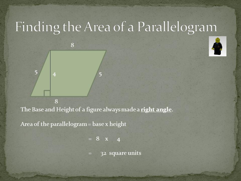 6 6 8 7 8 Remember the Base and Height of a figure always made a right angle.