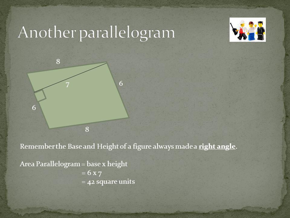 The Area of a triangle = ½ x (Base x Height) or 1/2bh WHY.