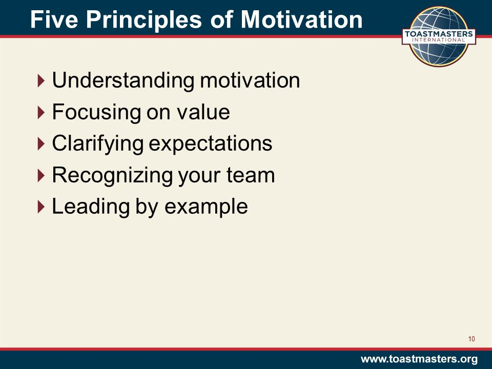 Five Principles of Motivation  Understanding motivation  Focusing on value  Clarifying expectations  Recognizing your team  Leading by example 10