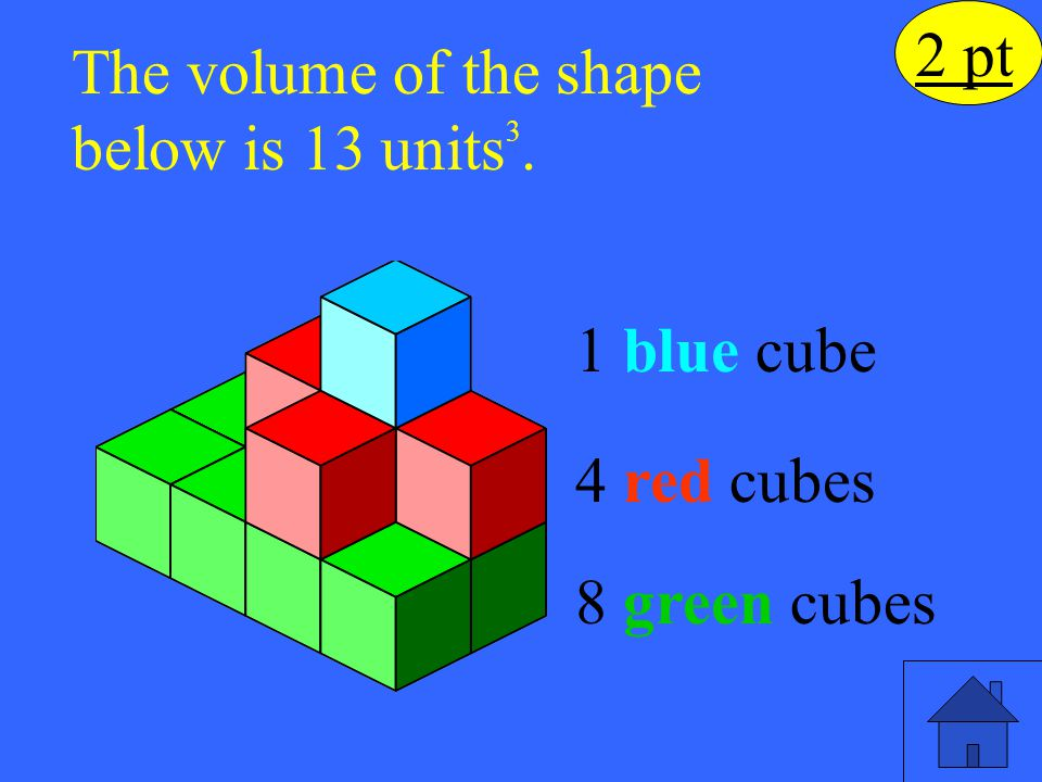 2 pt The volume of the shape below is 13 units 3. 8 green cubes 1 blue cube 4 red cubes