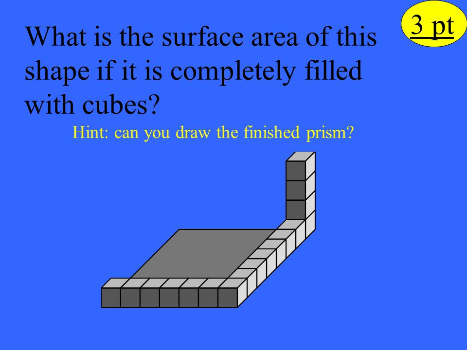 What is the surface area of this shape if it is completely filled with cubes? Hint: can you draw the finished prism? 3 pt