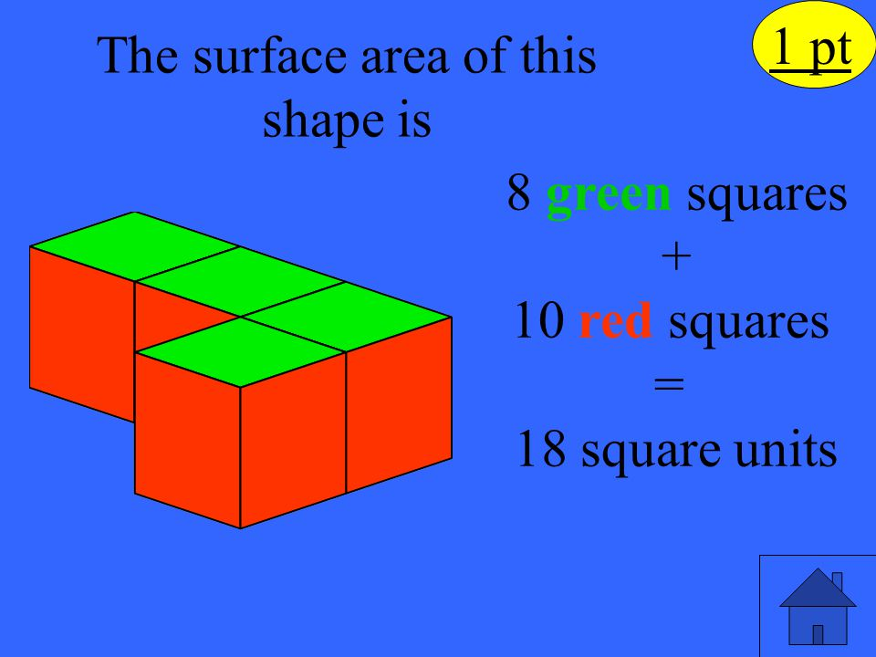 What would the volume of the prism be, if it was completely filled with cubes? 2 pt