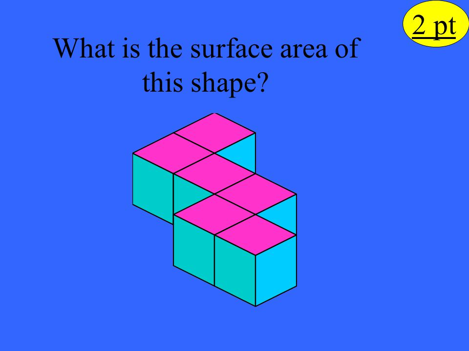 2 pt The surface area is 62 square units 10 green squares 15 red squares 6 yellow squares But remember there are 2 of each of these faces, so multiply the sum by 2.