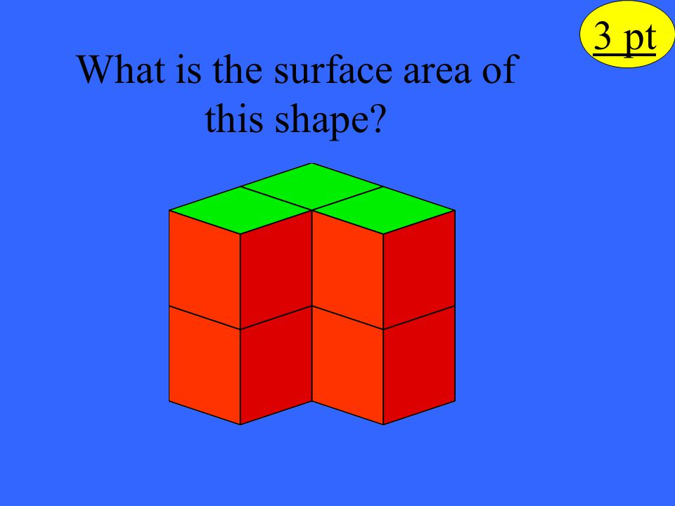 The surface area of the yellow face is 28 units 2.