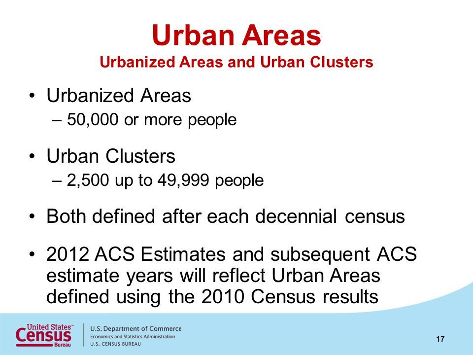 Urban Areas Urbanized Areas and Urban Clusters Urbanized Areas –50,000 or more people Urban Clusters –2,500 up to 49,999 people Both defined after each decennial census 2012 ACS Estimates and subsequent ACS estimate years will reflect Urban Areas defined using the 2010 Census results 17