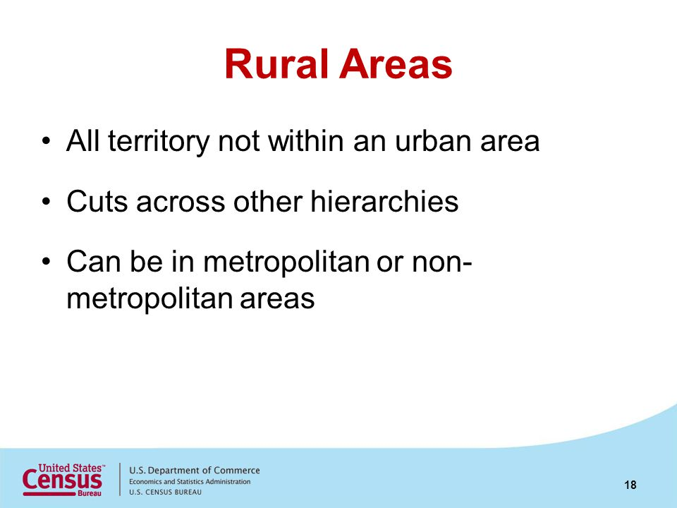Rural Areas All territory not within an urban area Cuts across other hierarchies Can be in metropolitan or non- metropolitan areas 18