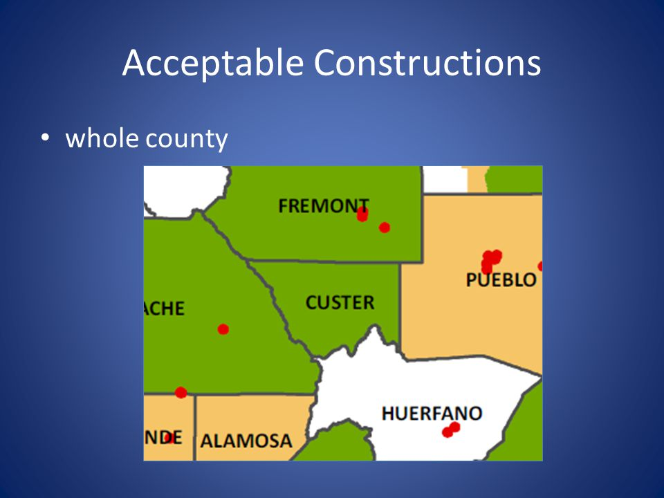 Acceptable Constructions multiple counties (states)