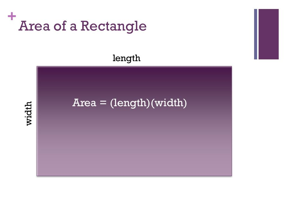 + Area of a Parallelogram width height Area = (height)(width)