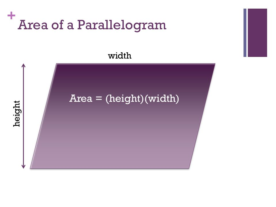 + Area of a Triangle base height Area = (base)(height) 2