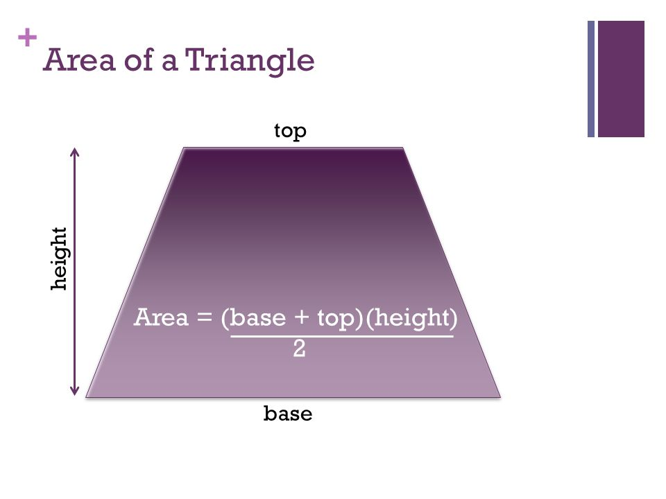 + Area of a Triangle base height Area = (base + top)(height) 2 top