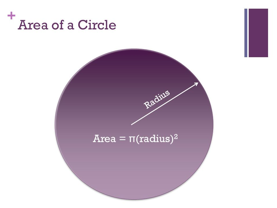 + Area of a Circle Radius Area = π(radius) 2