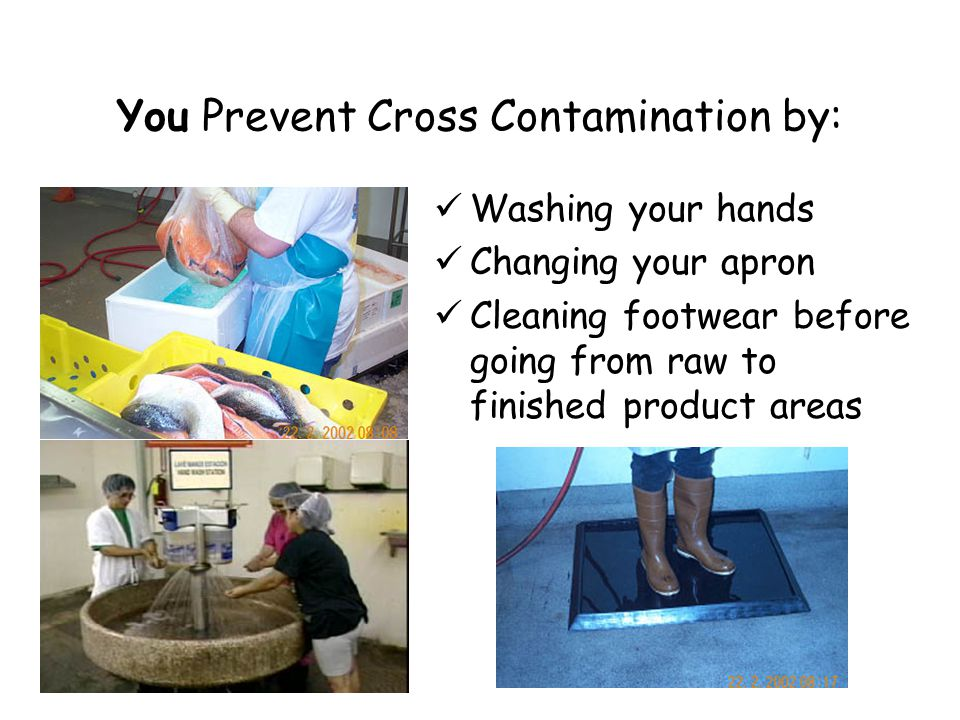 You Prevent Cross Contamination by: Washing your hands Changing your apron Cleaning footwear before going from raw to finished product areas