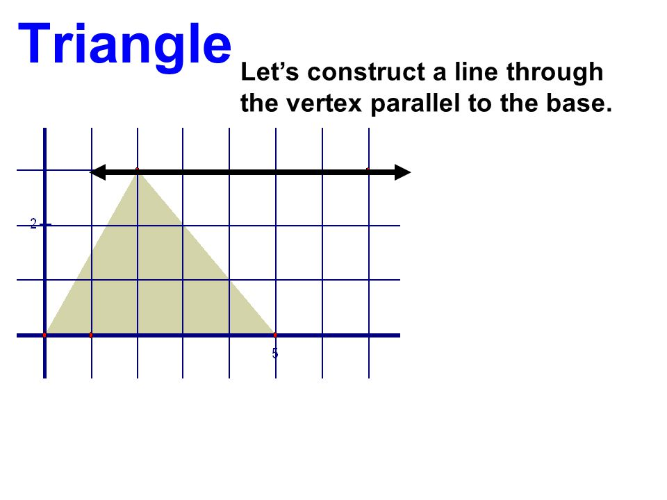Triangle Let's construct a line through the vertex parallel to the base.