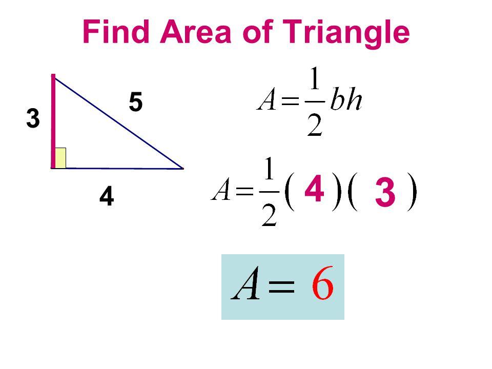 Find Area of Triangle 4 3 5 4 3