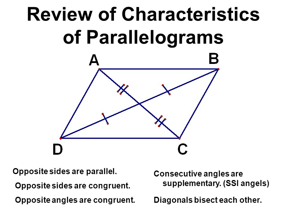 Review of Characteristics of Parallelograms Opposite sides are congruent. Opposite angles are congruent. Opposite sides are parallel. Consecutive angl