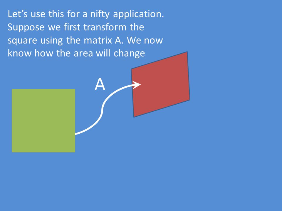 Let's use this for a nifty application. Suppose we first transform the square using the matrix A. We now know how the area will change A