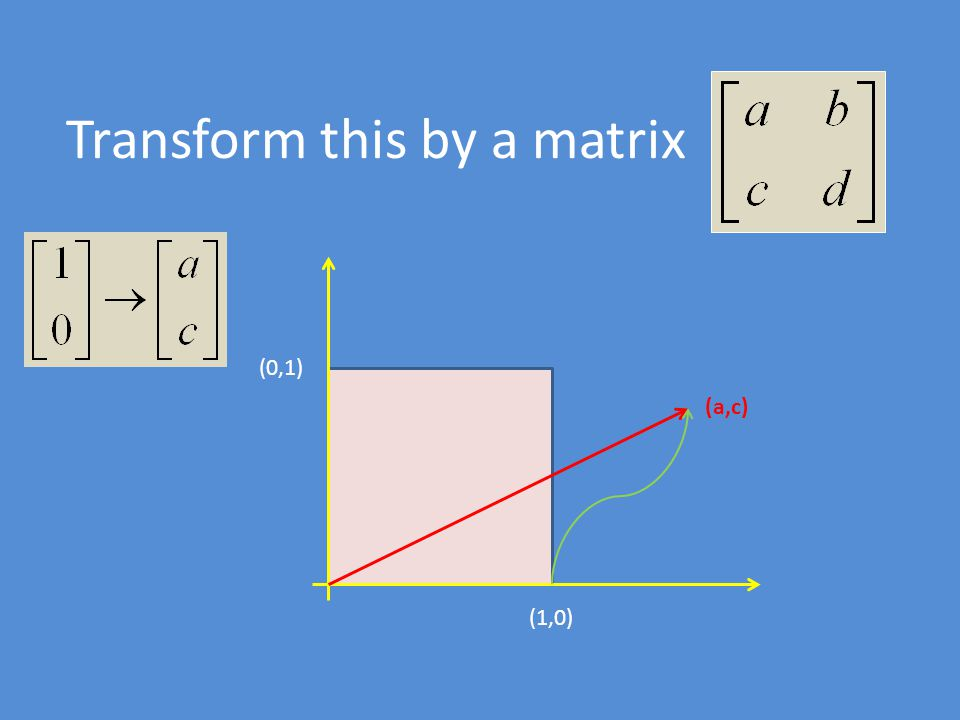 Transform this by a matrix (1,0) (0,1) (a,c)