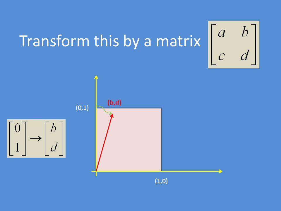 (1,0) (0,1) (b,d) (a,c) (a+b,c+d) So the area is (a 2 +c 2 ) 1/2 |ad-bc| ---------- (a 2 +c 2 ) 1/2