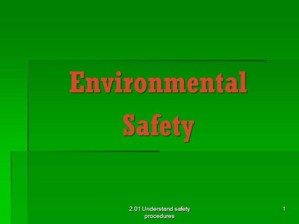 Environmental Safety General Guidelines  Read Policy and Procedure Manual 2.01 Understand safety procedures 2