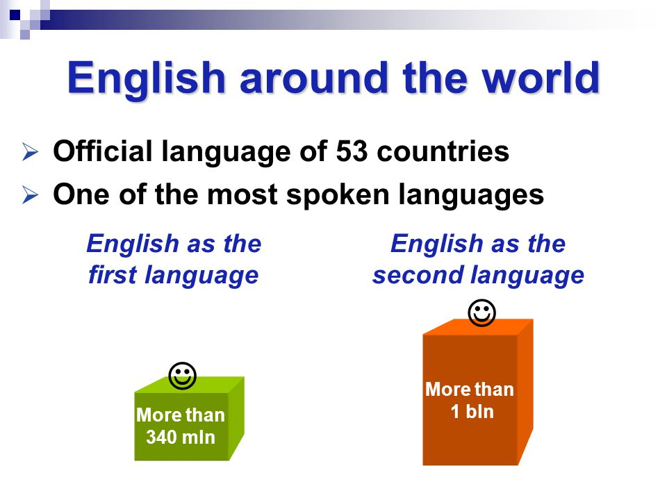  Official language of 53 countries  One of the most spoken languages English around the world English as the first language English as the second la