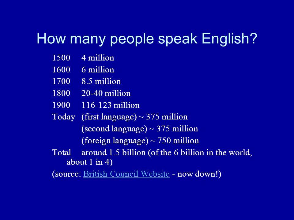 How many people speak English.
