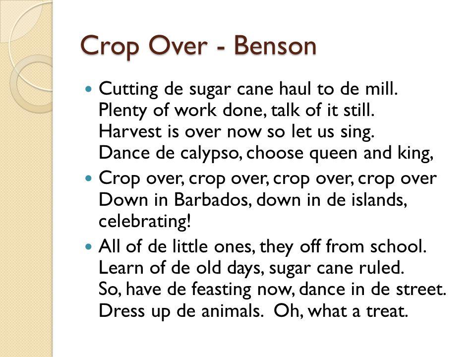Crop Over - Benson Cutting de sugar cane haul to de mill.