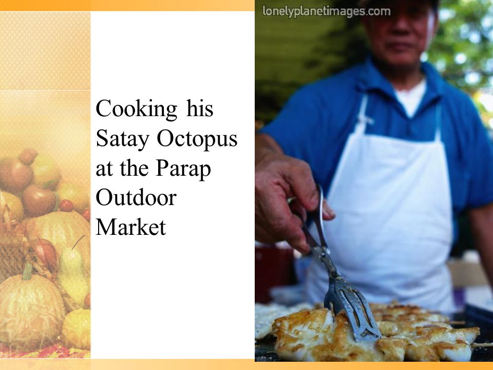Cooking his Satay Octopus at the Parap Outdoor Market