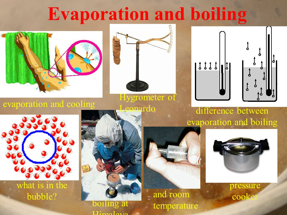 Evaporation and boiling evaporation and cooling Hygrometer of Leonardo difference between evaporation and boiling what is in the bubble.