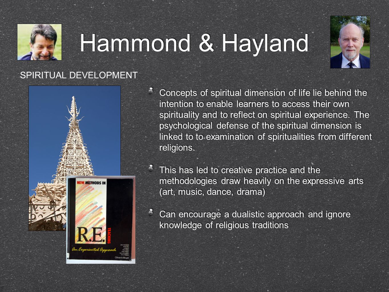 Hammond & Hayland Concepts of spiritual dimension of life lie behind the intention to enable learners to access their own spirituality and to reflect on spiritual experience.