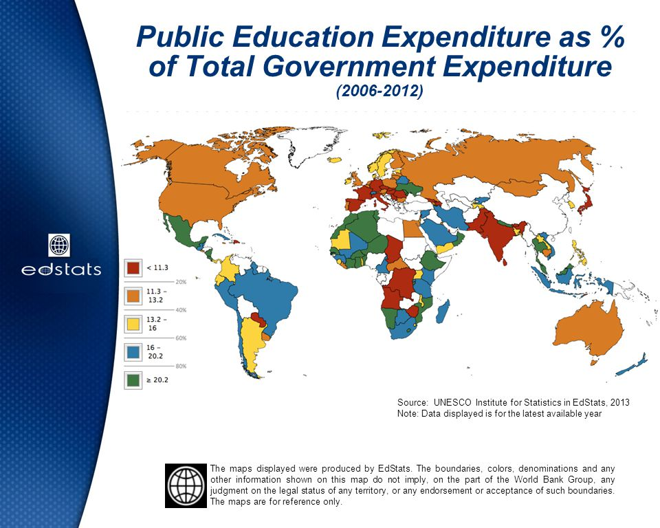 Public Education Expenditure as % of Total Government Expenditure (2006-2012) Source: UNESCO Institute for Statistics in EdStats, 2013 Note: Data disp