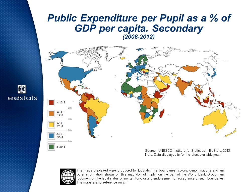 Public Expenditure per Pupil as a % of GDP per capita. Secondary (2006-2012) Source: UNESCO Institute for Statistics in EdStats, 2013 Note: Data displ