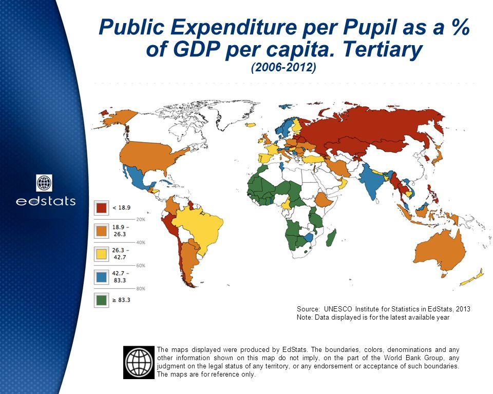 Public Expenditure per Pupil as a % of GDP per capita. Tertiary (2006-2012) Source: UNESCO Institute for Statistics in EdStats, 2013 Note: Data displa