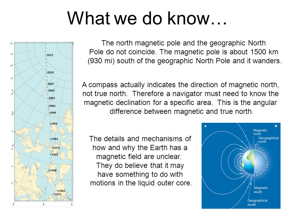 What we do know… The north magnetic pole and the geographic North Pole do not coincide. The magnetic pole is about 1500 km (930 mi) south of the geogr
