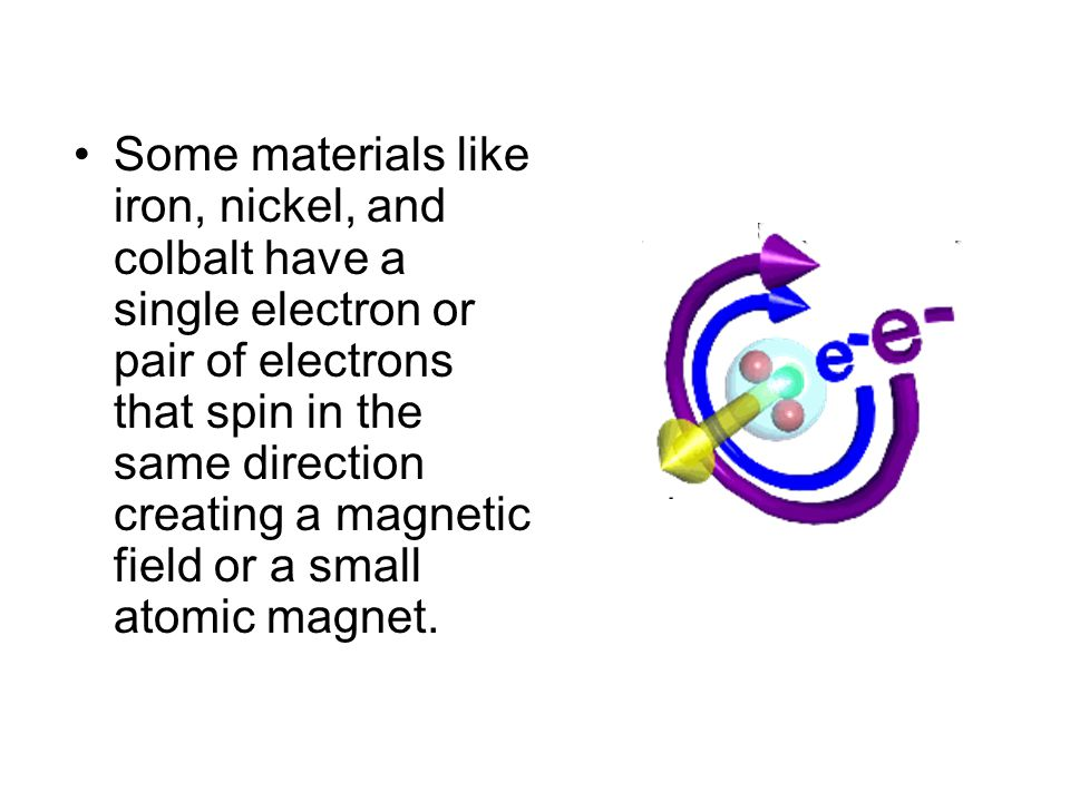 Some materials like iron, nickel, and colbalt have a single electron or pair of electrons that spin in the same direction creating a magnetic field or