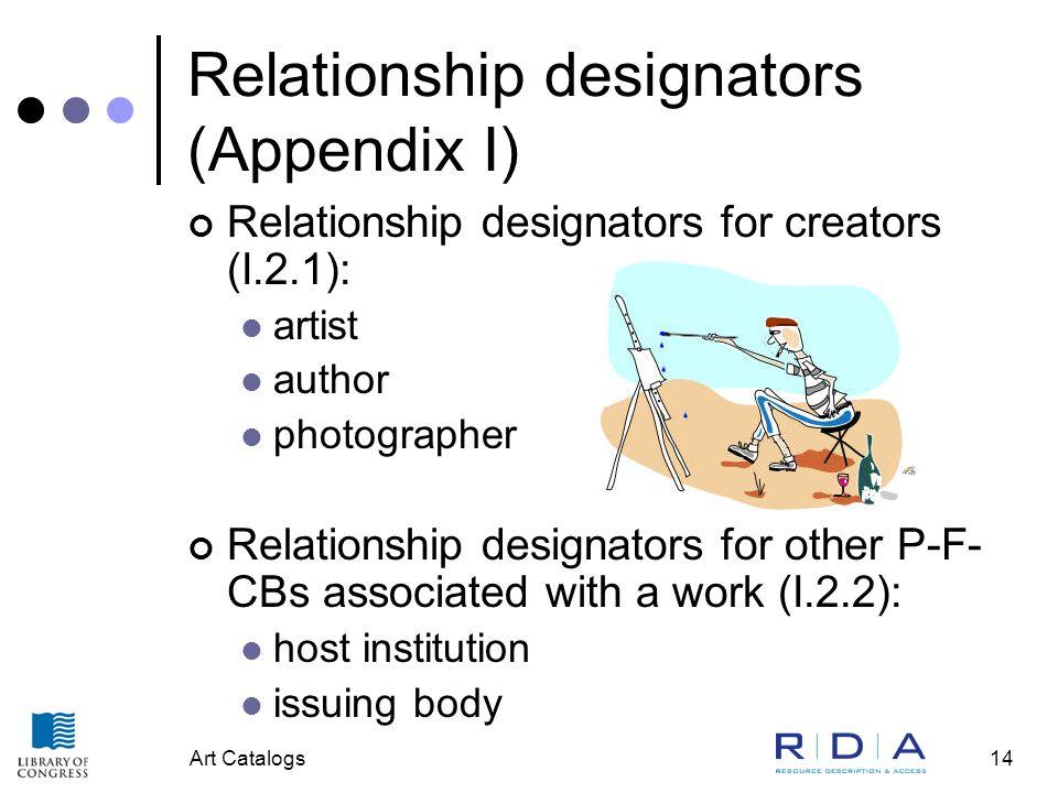 Art Catalogs14 Relationship designators (Appendix I) Relationship designators for creators (I.2.1): artist author photographer Relationship designator