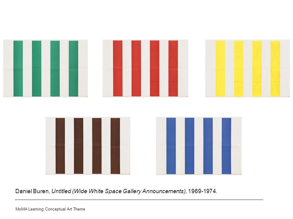 Daniel Buren, Untitled (Wide White Space Gallery Announcements), 1969-1974. MoMA Learning Conceptual Art Theme