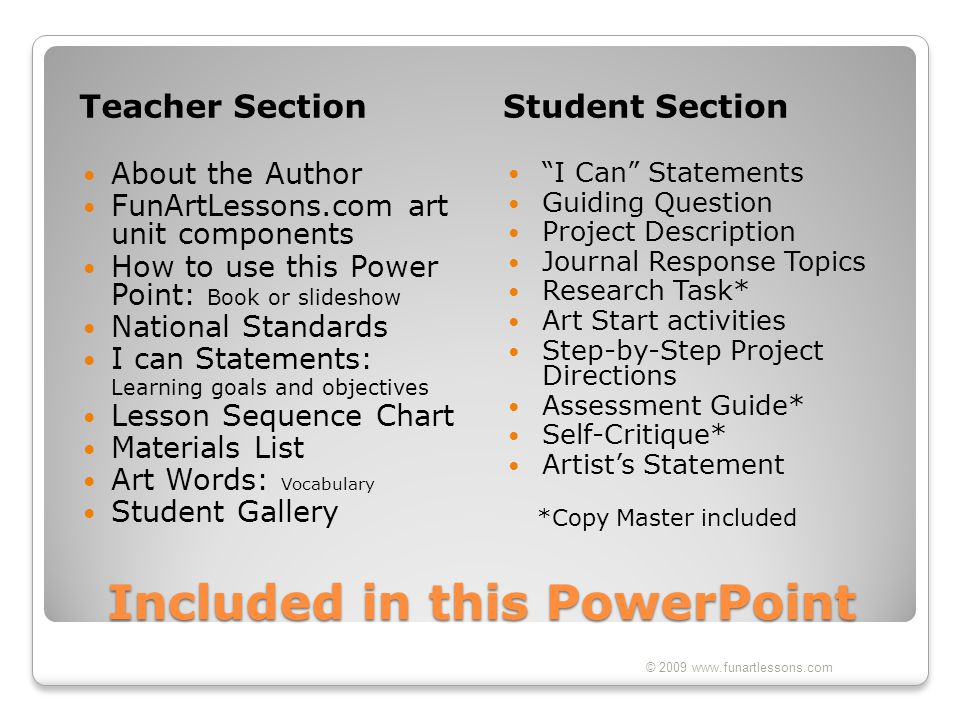 Included in this PowerPoint Teacher SectionStudent Section About the Author FunArtLessons.com art unit components How to use this Power Point: Book or
